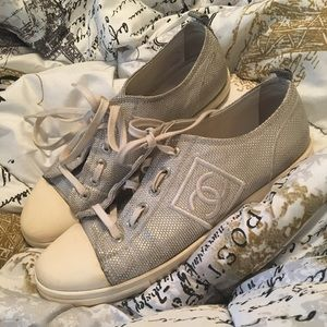 Chanel Silver weave canvas sneakers